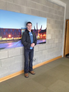 Niall in the University of Limerick on the day he was handing up his Masters thesis.